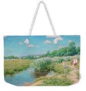 Summer Landscape With Children Weekender Tote Bag