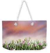Summer Meadow Flowers In Grass At Sunset. Weekender Tote Bag