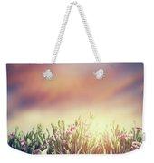 Summer Meadow Flowers In Grass At Sunset. Vintage Weekender Tote Bag