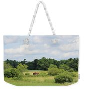 Summer Tractor In Field Corinna Maine Weekender Tote Bag