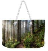 Sun Beams Along Hiking Trail In Washington State Park Weekender Tote Bag