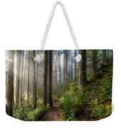 Sun Beams Along Hiking Trail In Washington State Park Weekender Tote Bag
