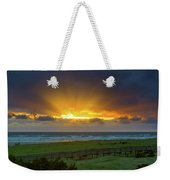 Sun Rays At Long Beach Washington During Sunset Weekender Tote Bag