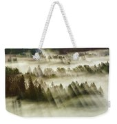 Sun Rays Over Foggy Oregon Forest Weekender Tote Bag