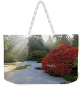 Sun Rays Over Japanese Flat Sand Garden In Autumn Weekender Tote Bag