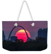 Sun Setting Behind The Arch Weekender Tote Bag