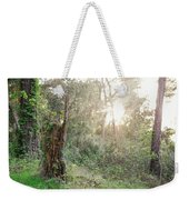 Sun Shining Through Trees In A Mysterious Forest Weekender Tote Bag