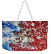 Sun Sky Clouds And A Red Maple Weekender Tote Bag