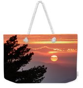 Sun Through The Clouds And Trees Sunset At The Mountains Weekender Tote Bag