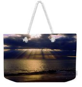 Sunbeams Radiating Through Clouds Before Sunset Weekender Tote Bag