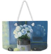 Sunday Morning And Roses - Blue Weekender Tote Bag