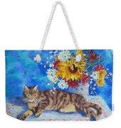 Sunflower Cat Weekender Tote Bag