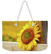 Sunflower On The Fence Weekender Tote Bag