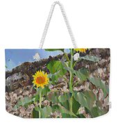 Sunflowers And A Stone Wall Weekender Tote Bag