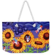 Sunflowers And Faeries Weekender Tote Bag by Genevieve Esson