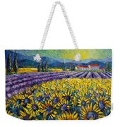 Sunflowers And Lavender Field - The Colors Of Provence Modern Impressionist Palette Knife Painting Weekender Tote Bag