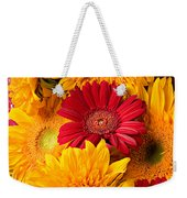 Sunflowers And Red Mums Weekender Tote Bag