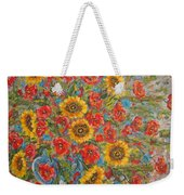 Sunflowers In Blue Pitcher. Weekender Tote Bag