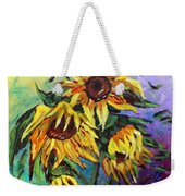 Sunflowers In The Rain Weekender Tote Bag