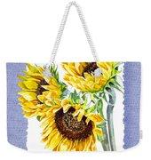 Sunflowers On Baby Blue Weekender Tote Bag