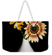 Sunflowers On Black Background And In White Vase Weekender Tote Bag