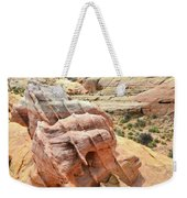 Sunlight On Colorful Boulder Above Wash 3 In Valley Of Fire Weekender Tote Bag