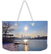 Sunny Schuylkill River In Winter Weekender Tote Bag