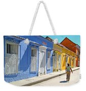 Sunny Street With Colored Houses - Cartagena-colombia Weekender Tote Bag