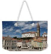 Sunny Tartini Square In Piran Slovenia With Government Building, Weekender Tote Bag