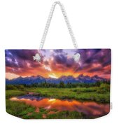 Sunrays Over The Tetons Weekender Tote Bag