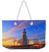 Sunrise At Marblehead Lighthouse Panorama Weekender Tote Bag