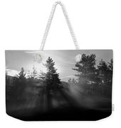 Sunrise Bursting Through Trees And Mist At Palsko Lake Weekender Tote Bag
