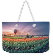 Sunrise, Hot Air Balloon And Moon Over The Tulip Field Weekender Tote Bag
