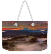 Sunrise Over Mount Hood And Sandy River Valley Weekender Tote Bag