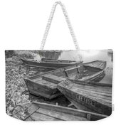 Sunrise Rowboats  In Black And White Weekender Tote Bag