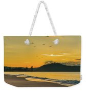 Sunrise Seascape With Mountain And Birds Weekender Tote Bag