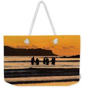 Sunrise Seascape With People Silhouettes Weekender Tote Bag