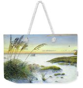 Sunset And Sea Oats At Siesta Key Public Beach -wide Weekender Tote Bag