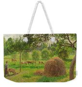Sunset At Eragny Weekender Tote Bag by Camille Pissarro