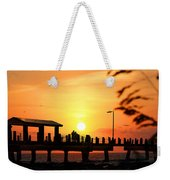 Sunset At Fort De Soto Fishing Pier Pinellas County Park St. Petersburg Florida Weekender Tote Bag