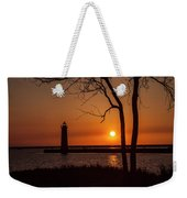 Sunset At The Lighthouse In Muskegon Michigan Weekender Tote Bag