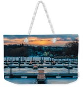 Sunset At The Marina In Winter Weekender Tote Bag