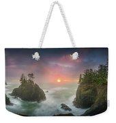 Sunset Between Sea Stacks With Trees Of Oregon Coast Weekender Tote Bag