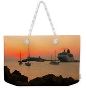 Sunset, Boats And Sea Weekender Tote Bag
