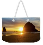 Sunset By Haystack Rock At Cannon Beach Weekender Tote Bag