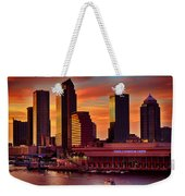 Sunset City Downtown By The River Weekender Tote Bag