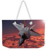 Sunset Fire F22 Fighter Jet Weekender Tote Bag