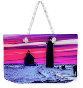 Sunset In Winter At Grand Haven Lighthouse Weekender Tote Bag