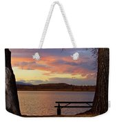 Sunset Lake Picnic Table View  Weekender Tote Bag