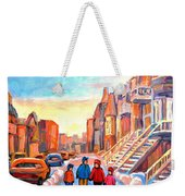 Sunset On Hotel De Ville Street Montreal Weekender Tote Bag